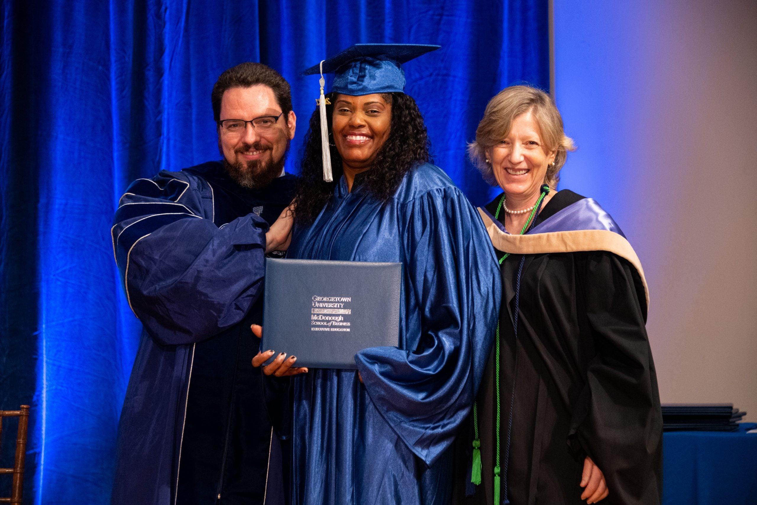 Pivot graduate Victoria Hunt receives her certificate.
